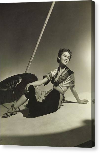 Plaid Canvas Print - Mademoiselle Lund In A Plaid Blouse Kerchief by Horst P. Horst