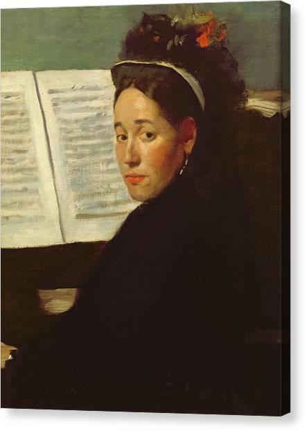 Edgar Degas Canvas Print - Mademoiselle Marie Dihau At The Piano by Edgar Degas