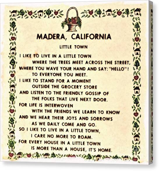 Madera Ca Little Town  Canvas Print