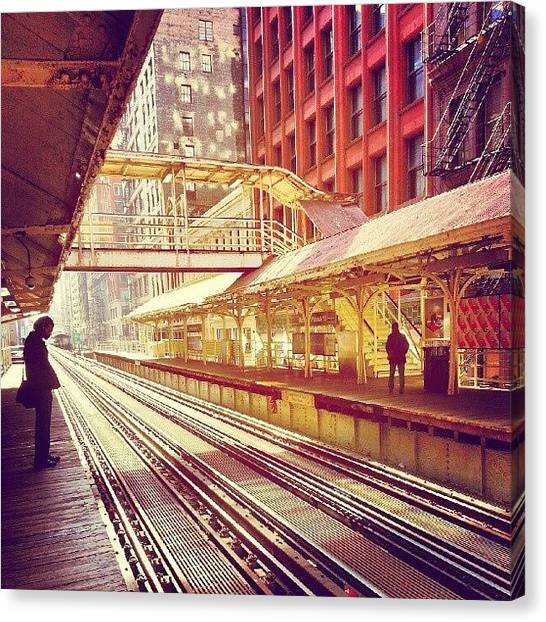 Track Canvas Print - Madison And Wabash by Jill Tuinier