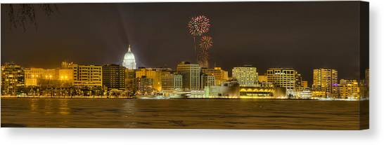 Madison Skyline New Years Eve Canvas Print