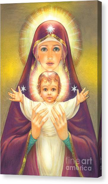 Spiritual Portrait Of Woman Canvas Print - Madonna And Baby Jesus by Zorina Baldescu