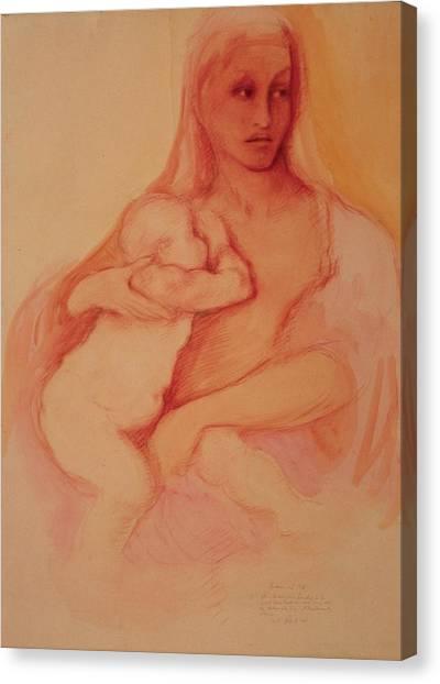 Madonna And Child Canvas Print by Herschel Pollard