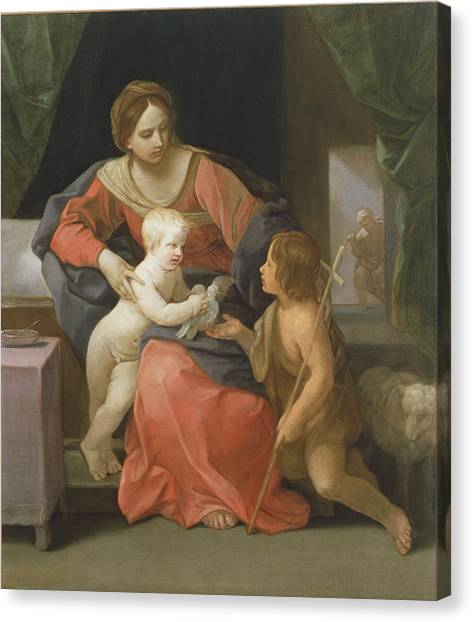 St Mary Canvas Print - Madonna And Child With Saint John The Baptist by Guido Reni