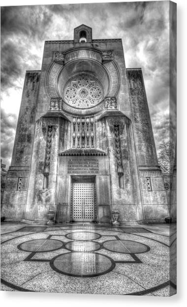 Loyola University Chicago Canvas Print - Madonna Della Strada Chapel - Monochrome by Greg Thiemeyer