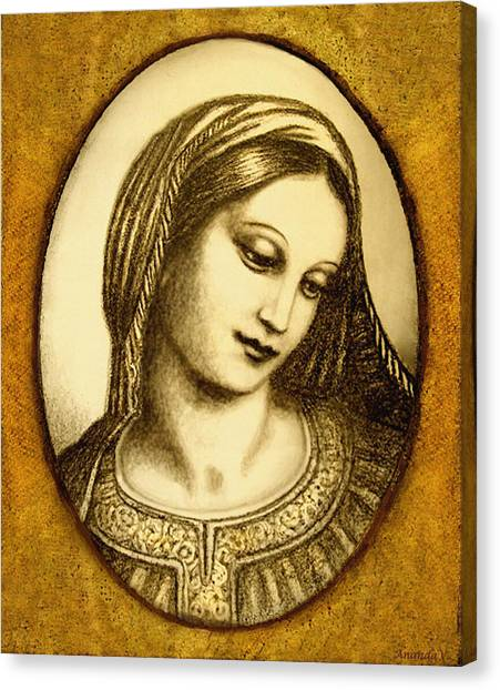 Rennaissance Art Canvas Print - Madonna Face  by Ananda Vdovic