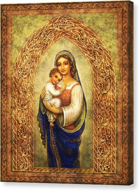 Italian Rennaissance Canvas Print - Madonna In An Arch by Ananda Vdovic