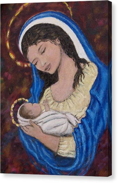 Madonna Of The Burgundy Tapestry - Cropped Canvas Print