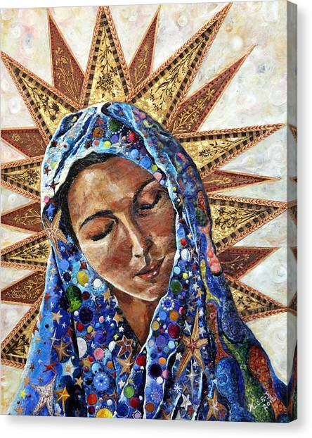 Virgin Mary Canvas Print - Madonna Of The Dispossessed by Mary C Farrenkopf