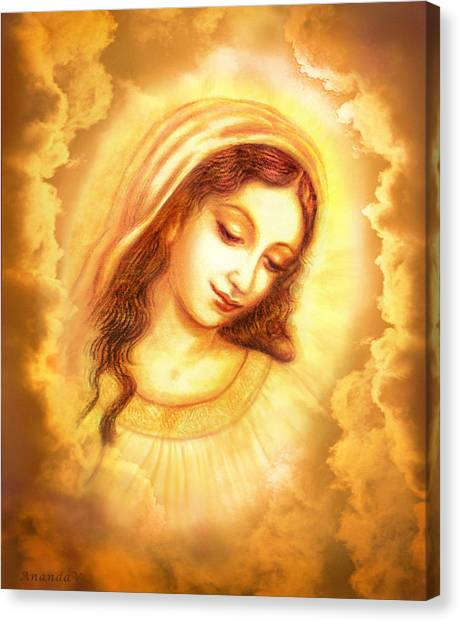 Italian Rennaissance Canvas Print - Madonna Vision In The Clouds by Ananda Vdovic
