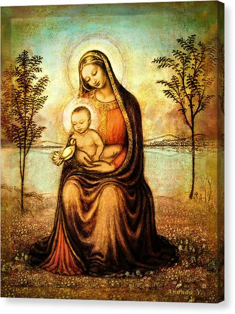 Rennaissance Art Canvas Print - Madonna With The Dove by Ananda Vdovic