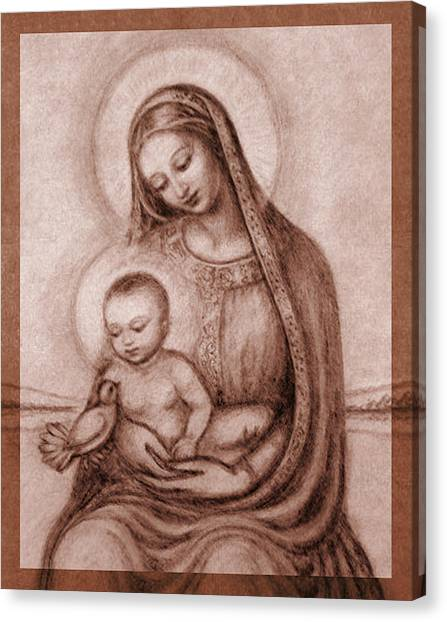 Rennaissance Art Canvas Print - Madonna With The Dove Detail by Ananda Vdovic