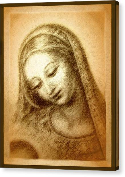 Italian Rennaissance Canvas Print - Madonna With The Dove Face by Ananda Vdovic