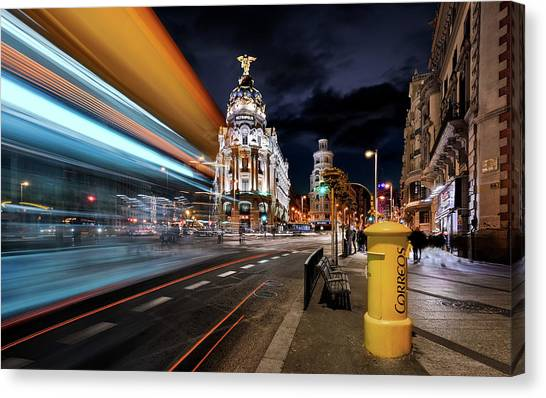 Palace Canvas Print - Madrid City Lights IIi by Jes?s M. Garc?a