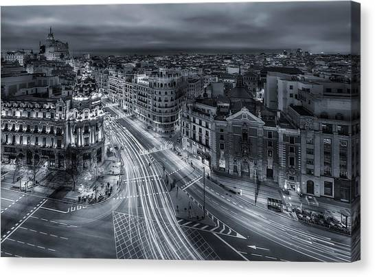 Night Lights Canvas Print - Madrid City Lights by Javier De La