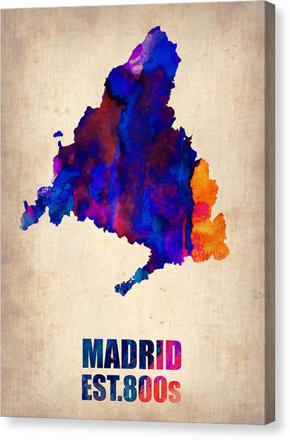 Madrid Canvas Print - Madrid Watercolor Map by Naxart Studio