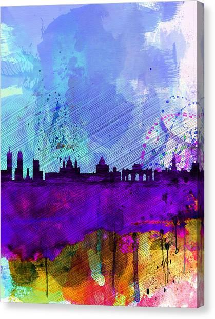 Spain Canvas Print - Madrid Watercolor Skyline by Naxart Studio