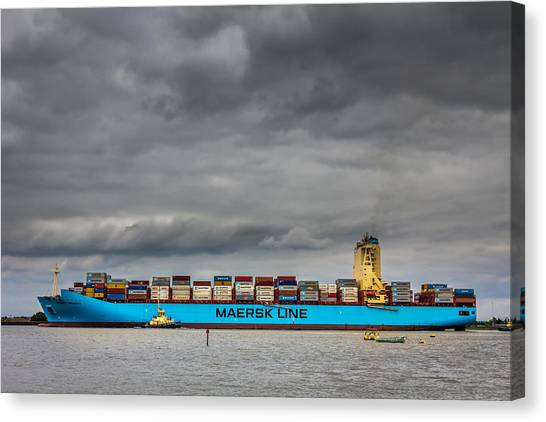 Canvas Print featuring the photograph Maersk Container Ship. by Gary Gillette