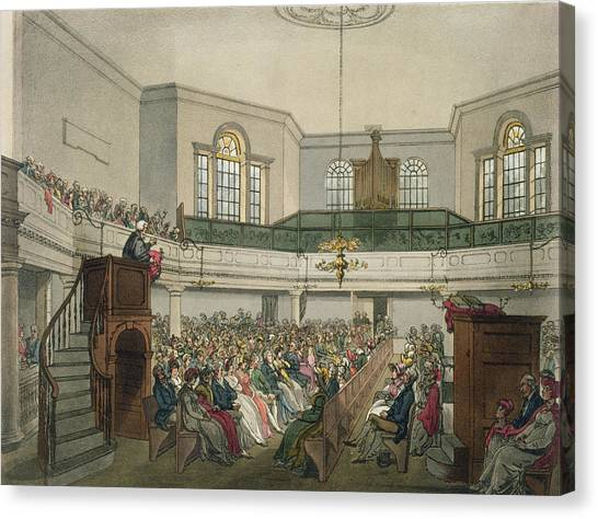 House Of Worship Canvas Print - Magdalen Chapel by Pugin And Rowlandson