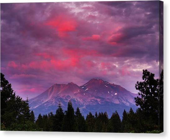 Magenta Sunset Mount Shasta Canvas Print by Jeff Leland