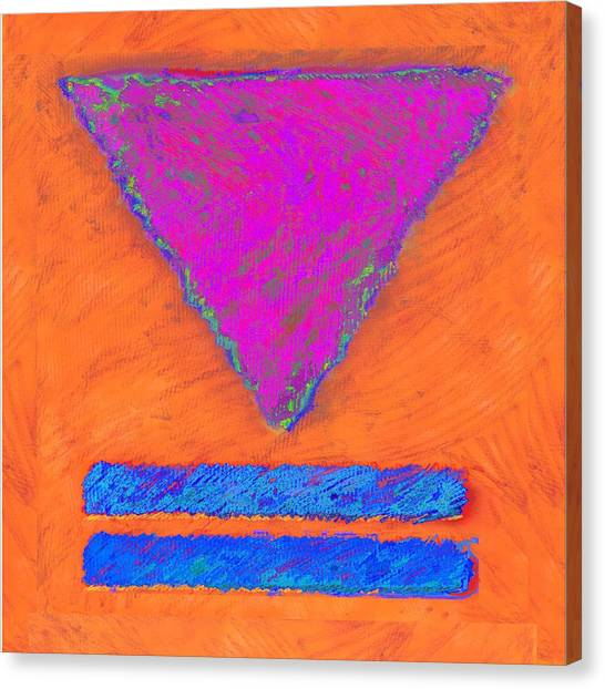 Magenta Triangle On Orange Canvas Print