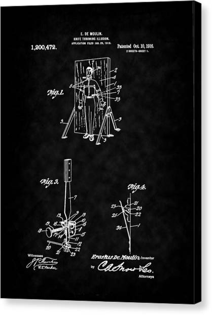 Magic - 1916 Knife Trowing Illusion Patent Canvas Print by Barry Jones