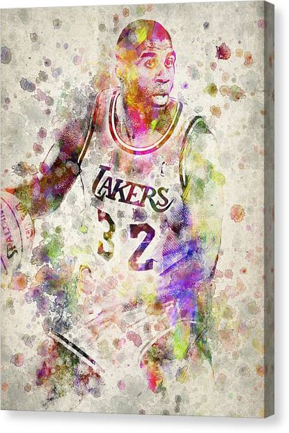 Slam Dunk Canvas Print - Magic Johnson by Aged Pixel