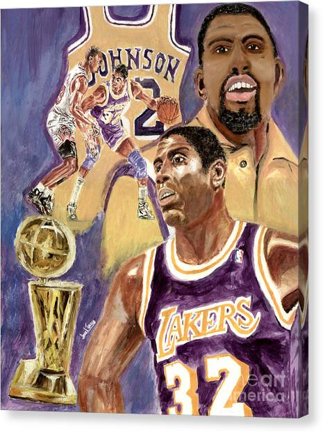 Larry Bird Canvas Print - Magic Johnson by Israel Torres