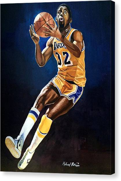 Larry Bird Canvas Print - Magic Johnson - Lakers by Michael  Pattison