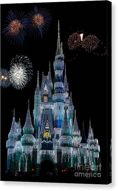Magic Kingdom Castle Frozen Fireworks Canvas Print