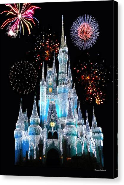 Castle Canvas Print - Magic Kingdom Castle In Frosty Light Blue With Fireworks 06 by Thomas Woolworth
