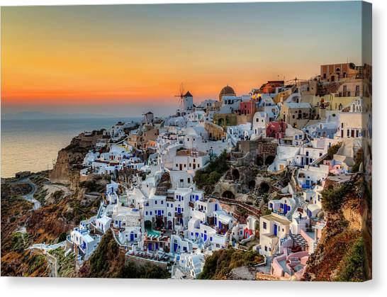 Magic Sunset In Santorini Canvas Print