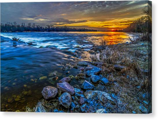 Magic Sunset Over Narew River Canvas Print