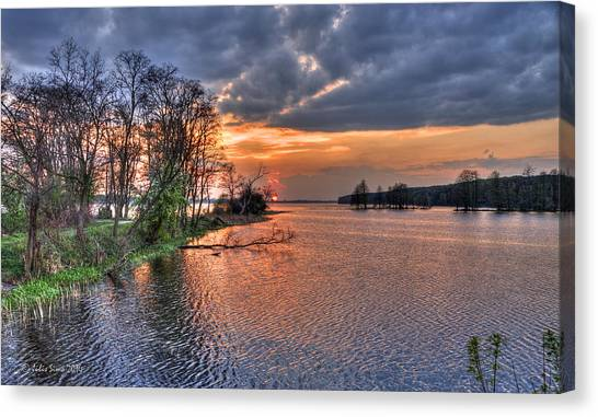 Magic Sunset Over Zegrze Lake Near Warsaw In Poland Canvas Print