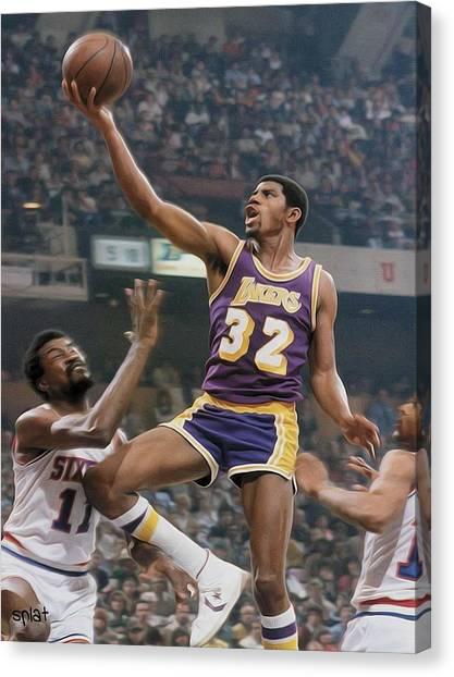 La Lakers Canvas Print - Magic Time by Paint Splat
