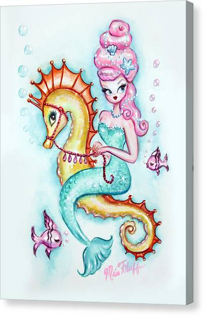 Seahorses Canvas Print - Magical Mermaid With Pink Bouffant by Miss Fluff Claudette Barjoud