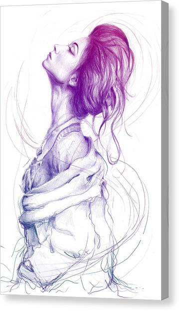 Pencils Canvas Print - Purple Fashion Illustration by Olga Shvartsur