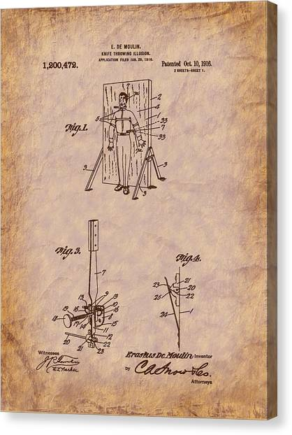Magician - 1916 Knife Trowing Illusion Patent Canvas Print by Barry Jones