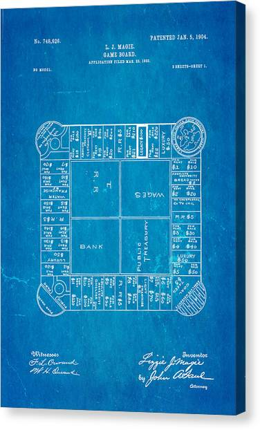 Household Canvas Print - Magie Landlord's Game Patent Art 1904 Blueprint by Ian Monk