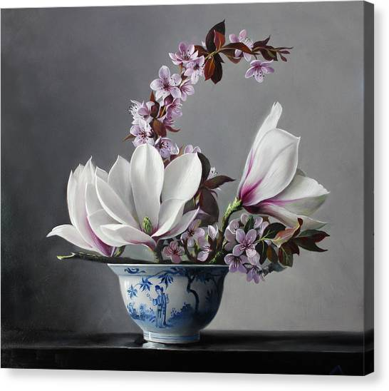 Mother Canvas Print - Magnolia And Apple Blossem by Pieter Wagemans