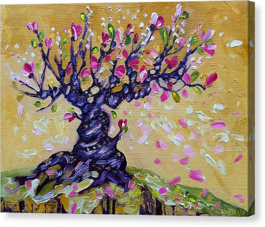 Magnolia Tree Flower Painting Oil On Canvas By Ekaterina Chernova Canvas Print
