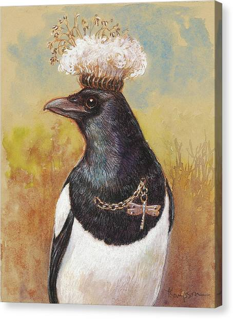 Magpies Canvas Print - Magpie In A Milkweed Crown by Tracie Thompson