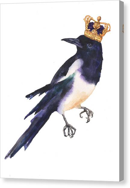 Magpies Canvas Print - Magpie Watercolor by Alison Fennell