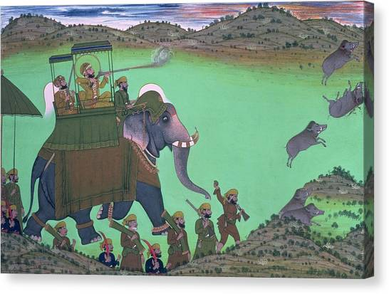 Sikh Canvas Print - Maharana Sarup Singh Of Udaipur Shooting Boar From Elephant-back, Rajasthan, 1855  by Indian School