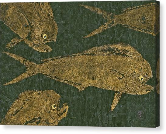 Mahi Mahi On Black W/ Gold Thread Unryu Paper Canvas Print