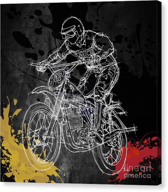 Motocross Canvas Print - Maico Biker by Drawspots Illustrations