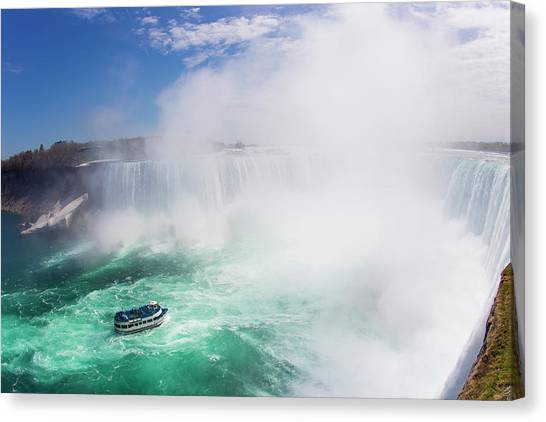 Horseshoe Falls Canvas Print - Maid Of The Mist Boat Tours Taking by Mike Theiss