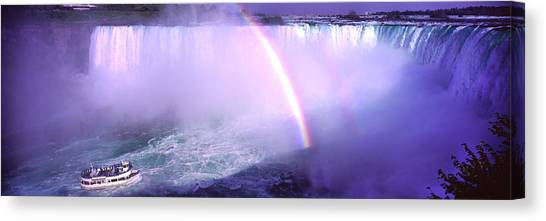 Horseshoe Falls Canvas Print - Maid Of The Mist With Rainbow by Panoramic Images