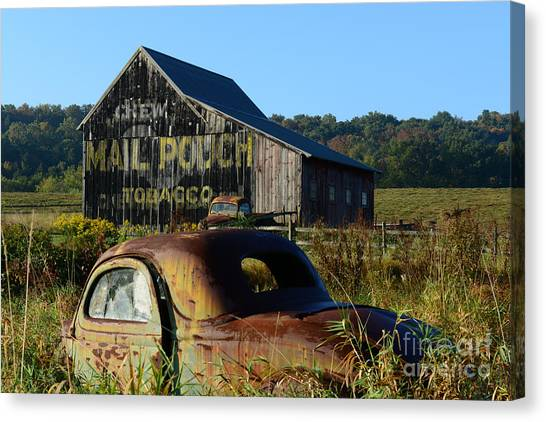 Ward Canvas Print - Mail Pouch Barn And Old Cars by Paul Ward