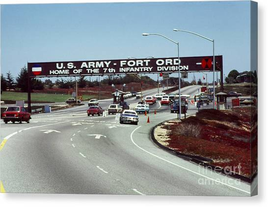 Main Gate 7th Inf. Div Fort Ord Army Base Monterey Calif. 1984 Pat Hathaway Photo Canvas Print